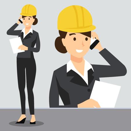 Belle fille au travail portant un casque de sécurité, Construction, Robe uniforme