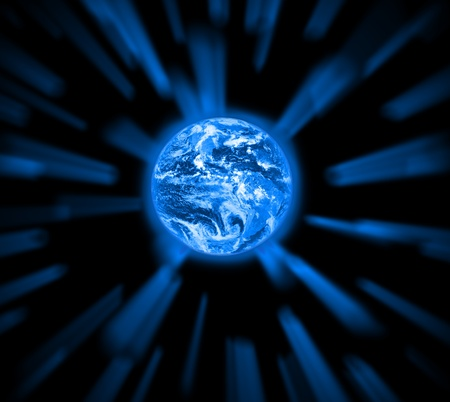 Blue planet in abstract background Stock Photo