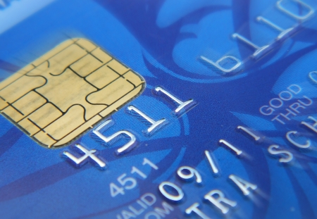 Closeup image of blue credit card photo