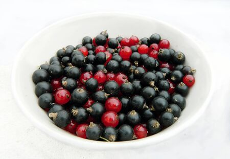 mix of redcurrant and blackcurrant in ceramic bowl  photo