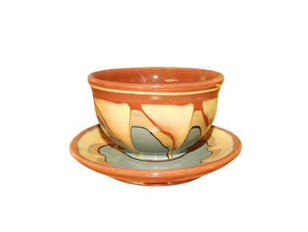 non alcoholic beverage: Painted cup and saucer from czech service in white background