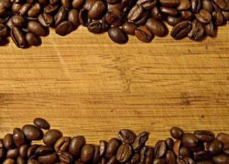 Coffee bean on wooden background photo