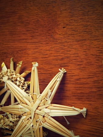christmas background from straw decorations