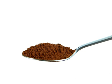 black powder: Instant coffee in the spoon