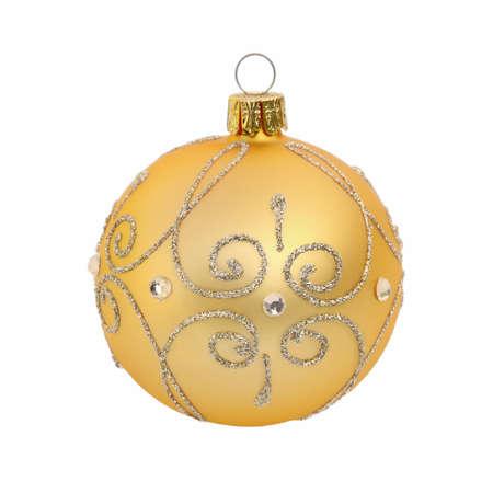 Golden christmas ball on white background Standard-Bild