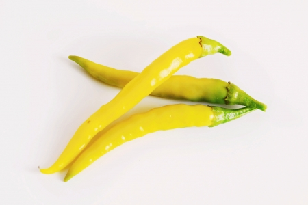 Yellow chili pepper on white