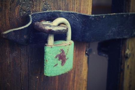 locked old wooden door  Standard-Bild