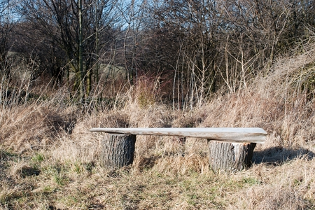 Wooden bench made of logs and placed in the forest Standard-Bild