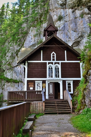 Old wooden church in the mountains, Sch?sserlbrunn, Austria Editorial