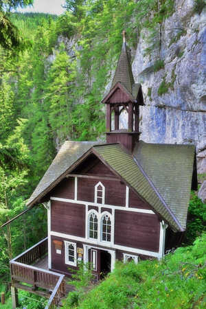 Old wooden church in the mountains, Schüsserlbrunn, Austria