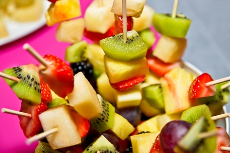 fruit platter: Cocktail appetizer from fruit on the festive table Stock Photo