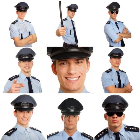 gorra polic�a: Foto mosaico de los hombres j�venes en los uniformes