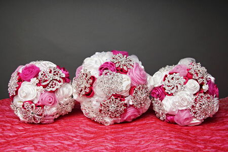 Three beautiful wedding bouquet for bride photo