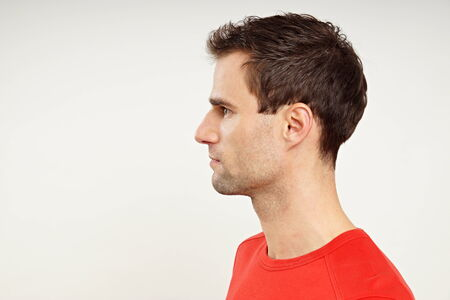 man profile: Profile of man in red shirt, left you can write some text Stock Photo