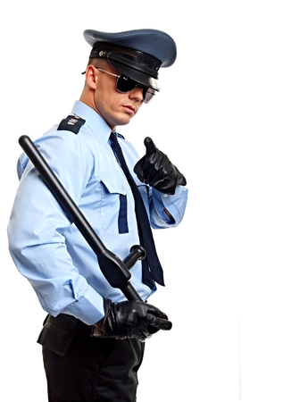 Policeman shows on you, right you can write some text