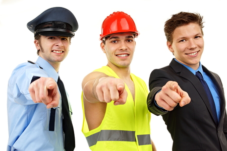 Three people, worker, police man and businessman shows on you