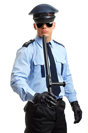 nightstick: Policeman in sunglasses with nightstick on white background Stock Photo