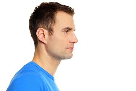 man profile: Profile of young man in blue shirt, right you can write some text