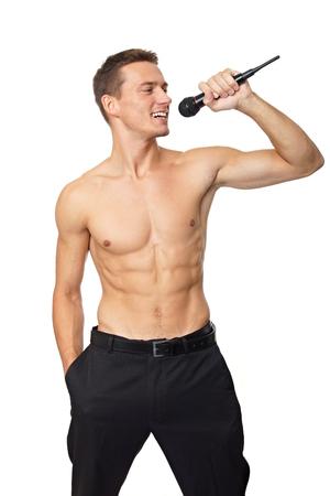 Karaoke with shirtless man on white background