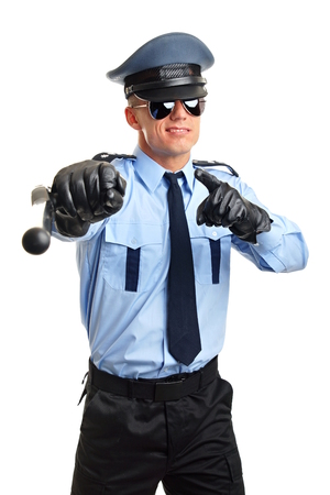 nightstick: Policeman in sunglasses shows on you with nightstick Stock Photo