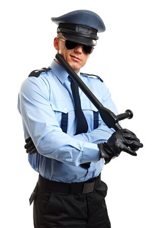 nightstick: Portrait of policeman in sunglasses holding nightstick on white background