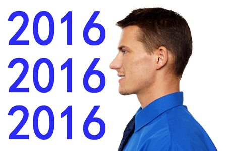 year profile: Happy new 2016 year with profile of young man in blue shirt and tie. Stock Photo