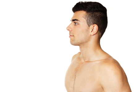 man profile: Face profile of athlete young man, left you can write some text