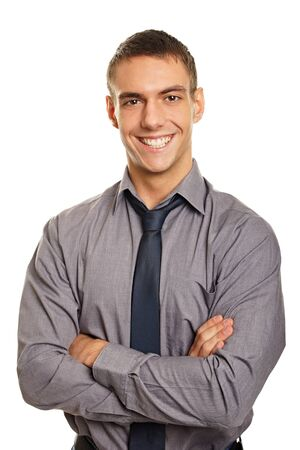 Portrait of young smiling man in shirt and tie