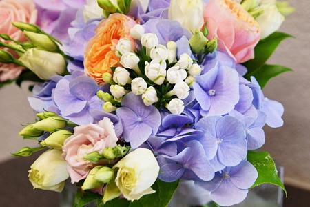 Beautiful bouquet of flowers with blue hydrangea