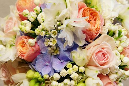 Bouquet of flowers with roses and hydrangea