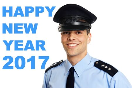 Happy new year 2017 with smiling young policeman Stock Photo