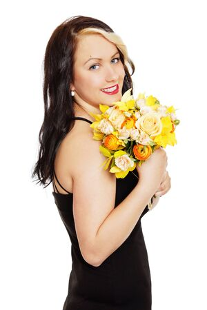 Young girl with bouquet of flowers on white background Standard-Bild