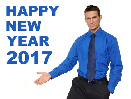Happy new year 2017 with smiling businessman in blue shirt