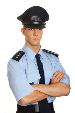 Portrait of young policeman in uniform