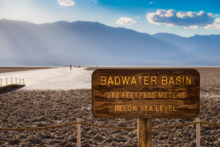 death valley: Badwater Basin Sign in Death Valley National Park, Nevada, USA