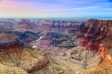 rock canyon: Beautiful view on Grand Canyon and Colorado river from Desert View point during sunset Stock Photo