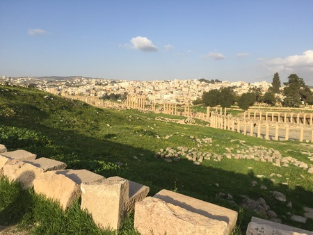 Roman ruins under a blue Middle Eastern sky over a verdant green valley