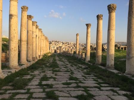 A palisade of Roman columns Stock Photo