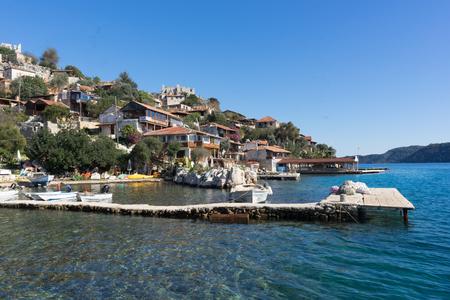 View to Simena town from sea Banco de Imagens