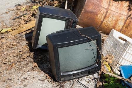 Old tv-sets on dump Stock fotó