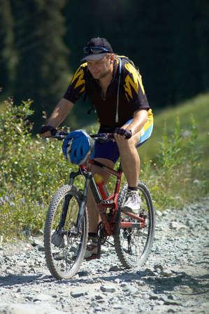 Biker on mountain road Stock Photo - 813546