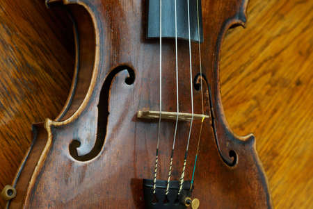 Retro old violin close-up photo