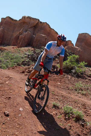 Mountain biker in Canyon Stock Photo - 1356717