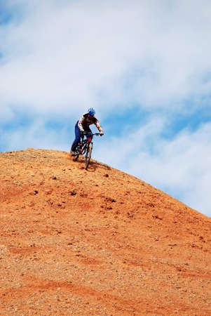 Bike Downhill hill in red canyon photo