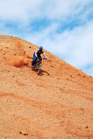 Downhill on red loan hill Stock Photo - 2047304