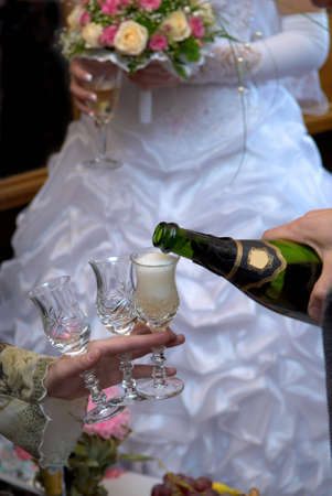 Bridal party enjoys champagne photo