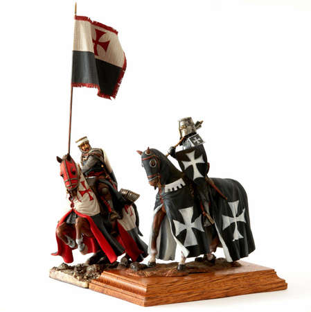 knight horse: Medieval knight statuette Stock Photo