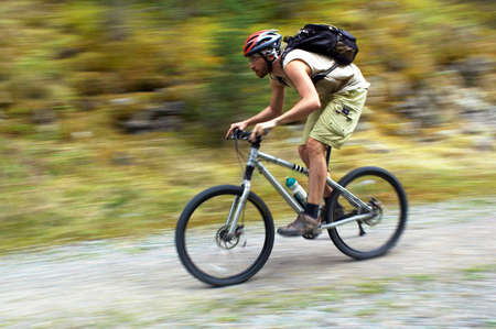 Speed motion mountain biker Stock Photo - 2645784