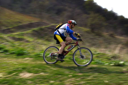 Speed motion mountain biker Stock Photo - 2900148