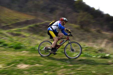 Speed motion mountain biker Stock Photo - 2900148